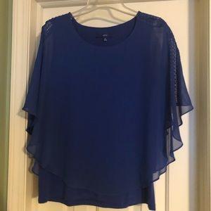 Royal Blue Flutter Sleeve Blouse